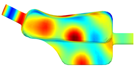 Noise pressure distribution in an exhaust